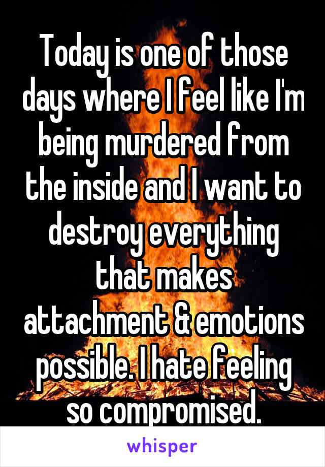 Today is one of those days where I feel like I'm being murdered from the inside and I want to destroy everything that makes attachment & emotions possible. I hate feeling so compromised.