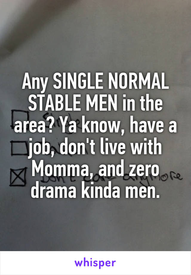 Any SINGLE NORMAL STABLE MEN in the area? Ya know, have a job, don't live with Momma, and zero drama kinda men.