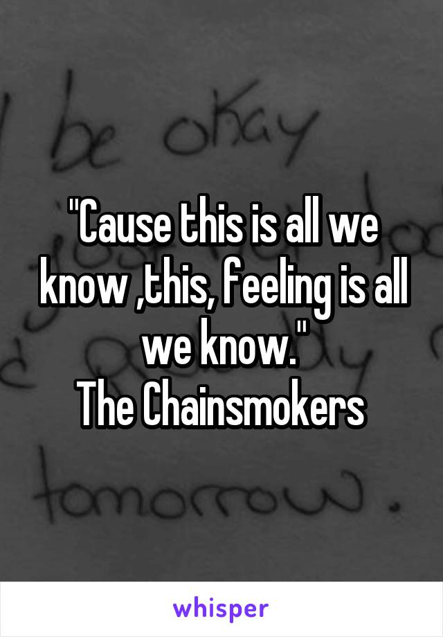 """""""Cause this is all we know ,this, feeling is all we know."""" The Chainsmokers"""