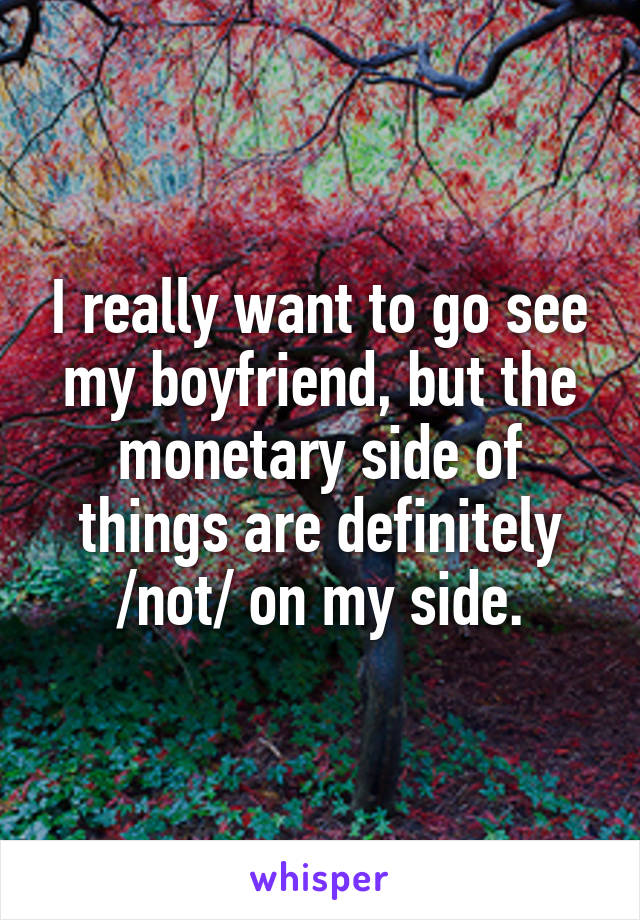 I really want to go see my boyfriend, but the monetary side of things are definitely /not/ on my side.