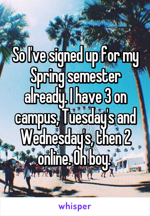 So I've signed up for my Spring semester already. I have 3 on campus, Tuesday's and Wednesday's, then 2 online. Oh boy.