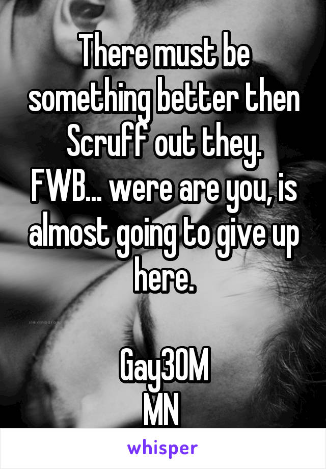 There must be something better then Scruff out they. FWB... were are you, is almost going to give up here.  Gay30M MN