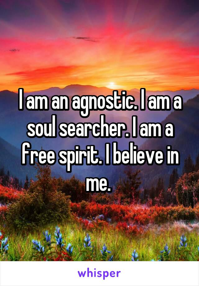 I am an agnostic. I am a soul searcher. I am a free spirit. I believe in me.