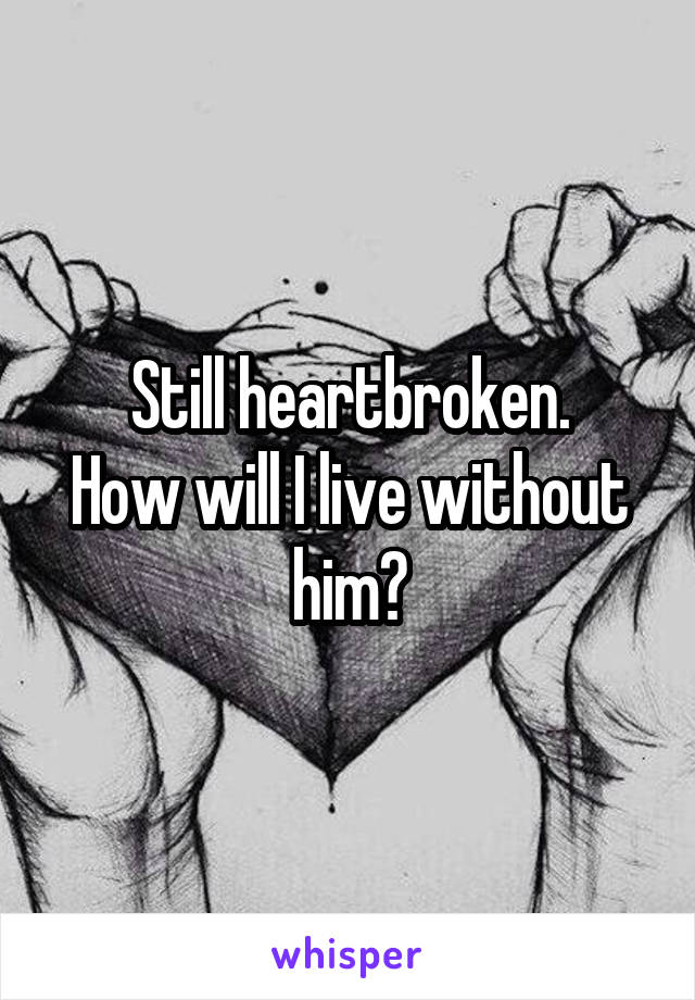 Still heartbroken. How will I live without him?
