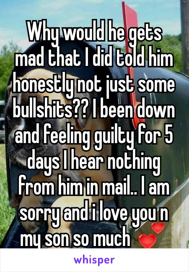Why would he gets mad that I did told him honestly not just some bullshits?? I been down and feeling guilty for 5 days I hear nothing from him in mail.. I am sorry and i love you n my son so much 💕