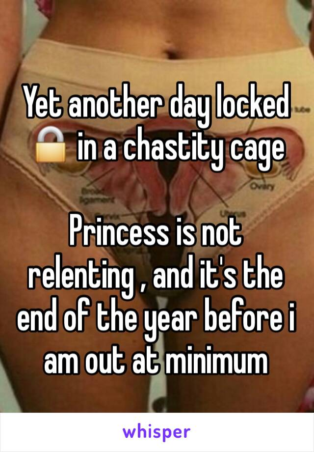 Yet another day locked 🔒 in a chastity cage   Princess is not relenting , and it's the end of the year before i am out at minimum