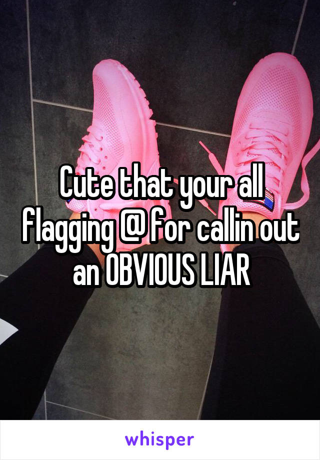 Cute that your all flagging @ for callin out an OBVIOUS LIAR