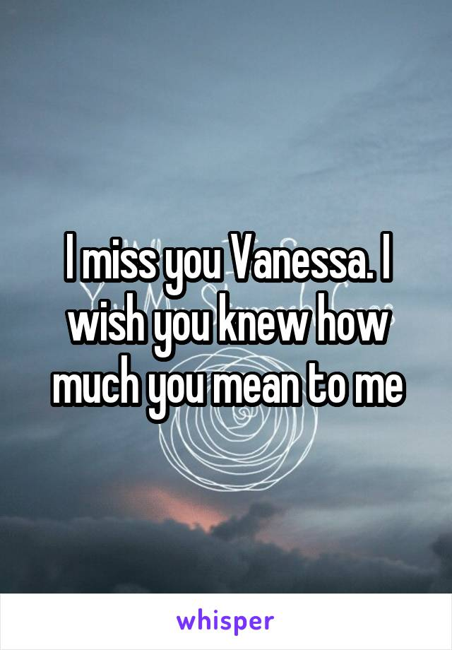 I miss you Vanessa. I wish you knew how much you mean to me