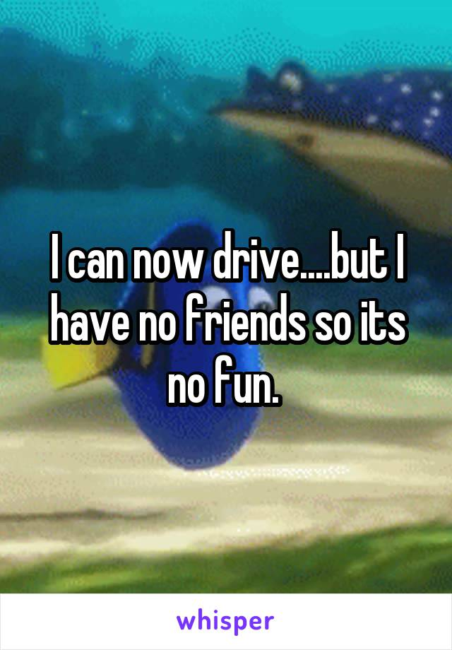 I can now drive....but I have no friends so its no fun.