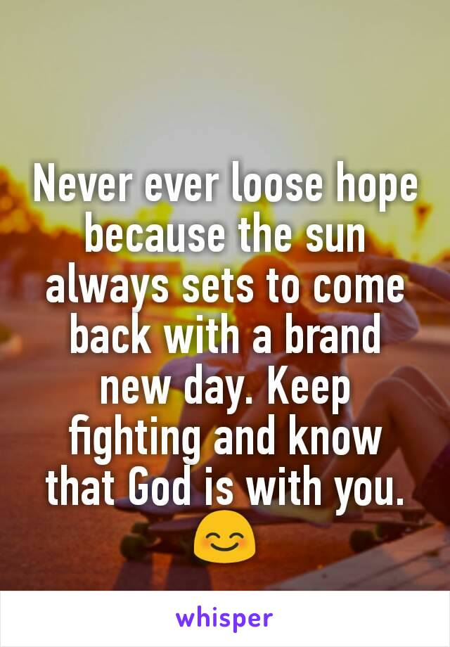 Never ever loose hope because the sun always sets to come back with a brand new day. Keep fighting and know that God is with you. 😊