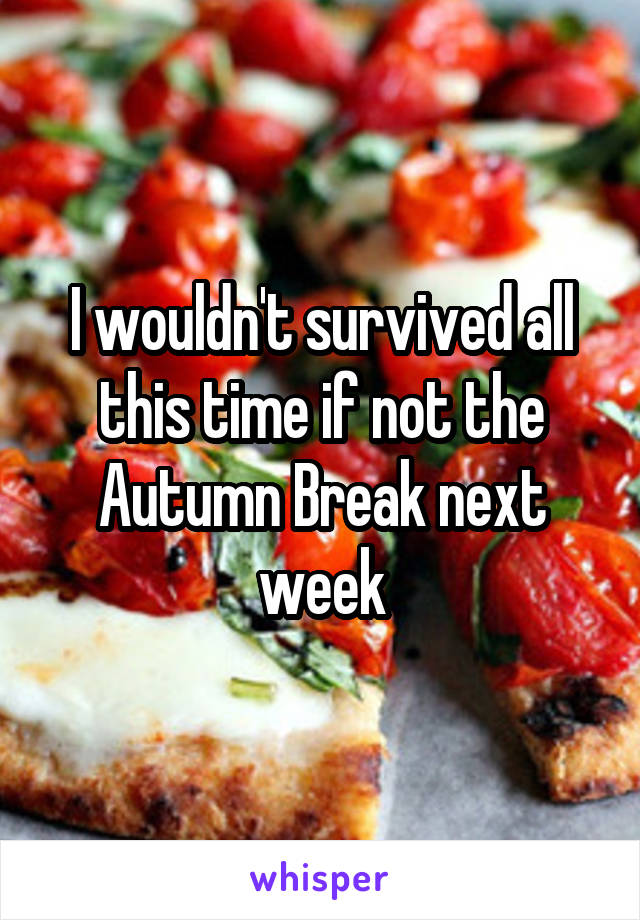 I wouldn't survived all this time if not the Autumn Break next week