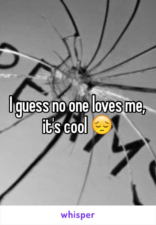 I guess no one loves me, it's cool 😔