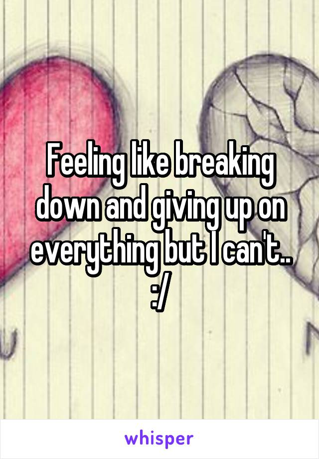 Feeling like breaking down and giving up on everything but I can't.. :/