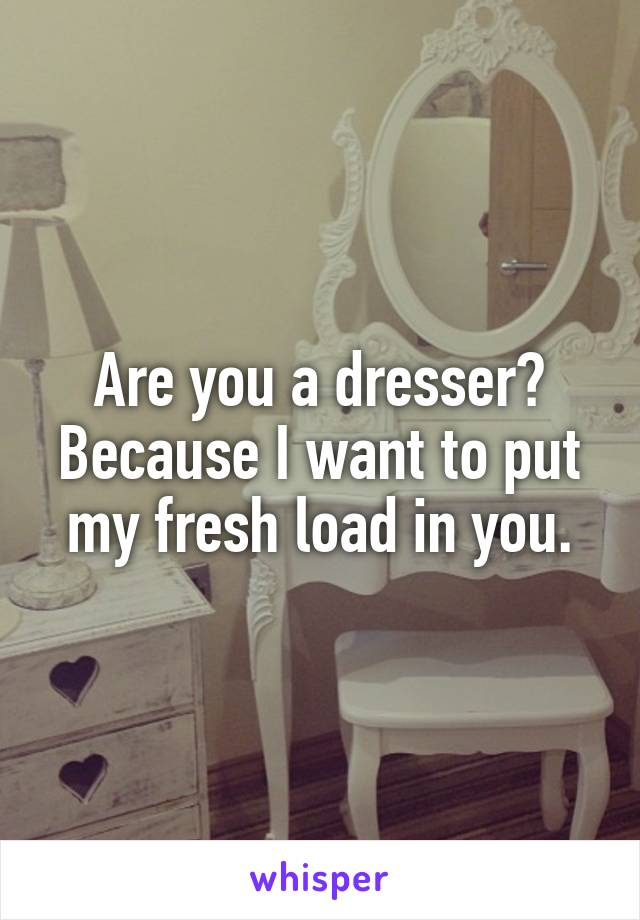 Are you a dresser? Because I want to put my fresh load in you.