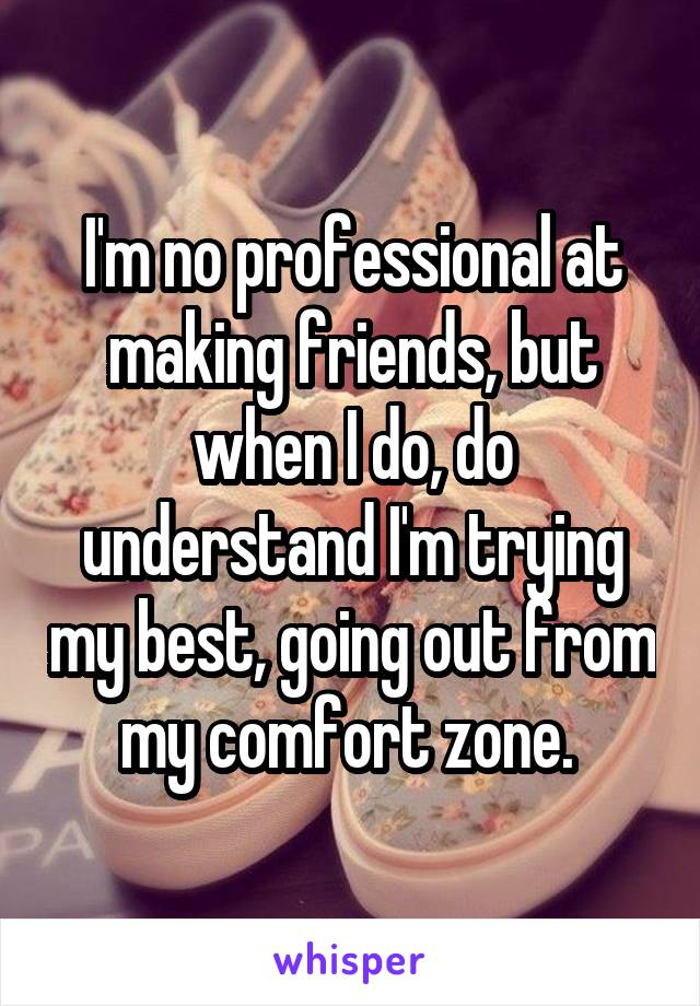 I'm no professional at making friends, but when I do, do understand I'm trying my best, going out from my comfort zone.