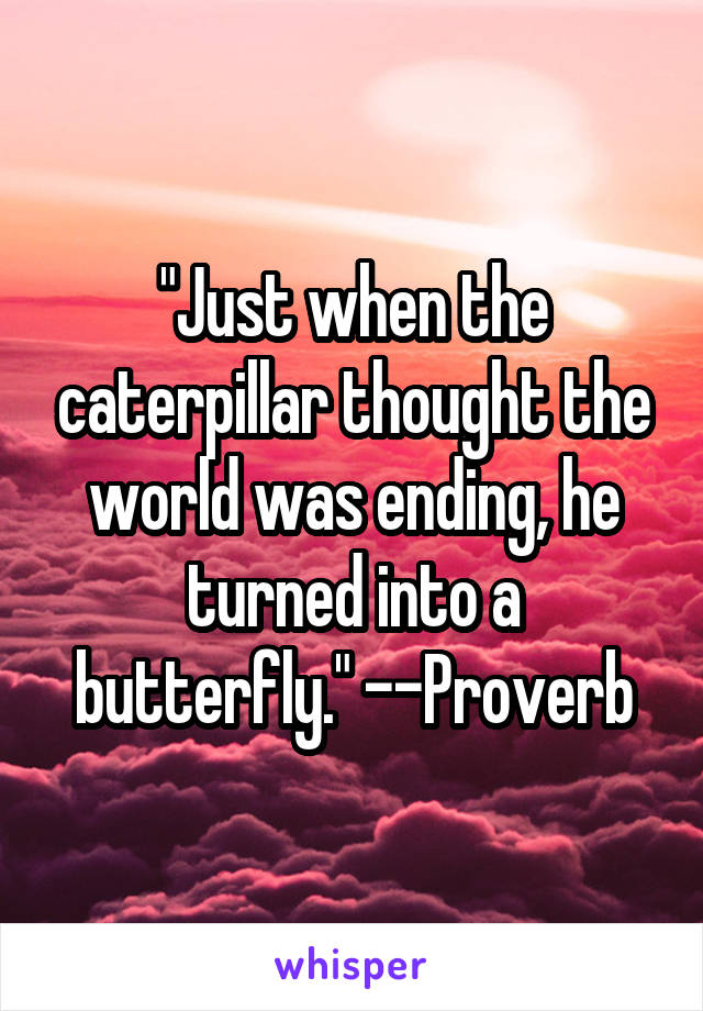 """Just when the caterpillar thought the world was ending, he turned into a butterfly."" --Proverb"