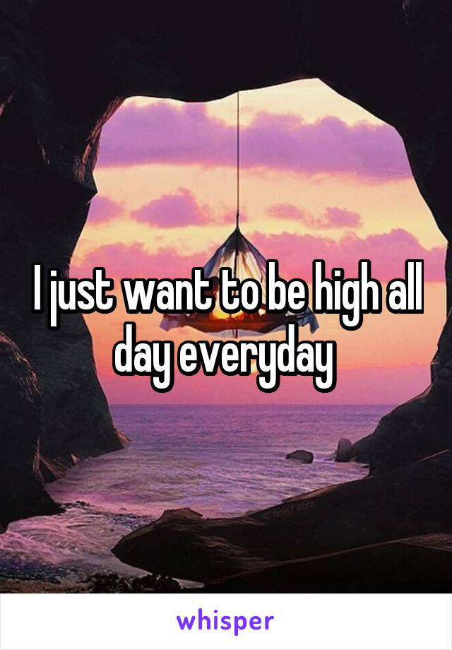 I just want to be high all day everyday