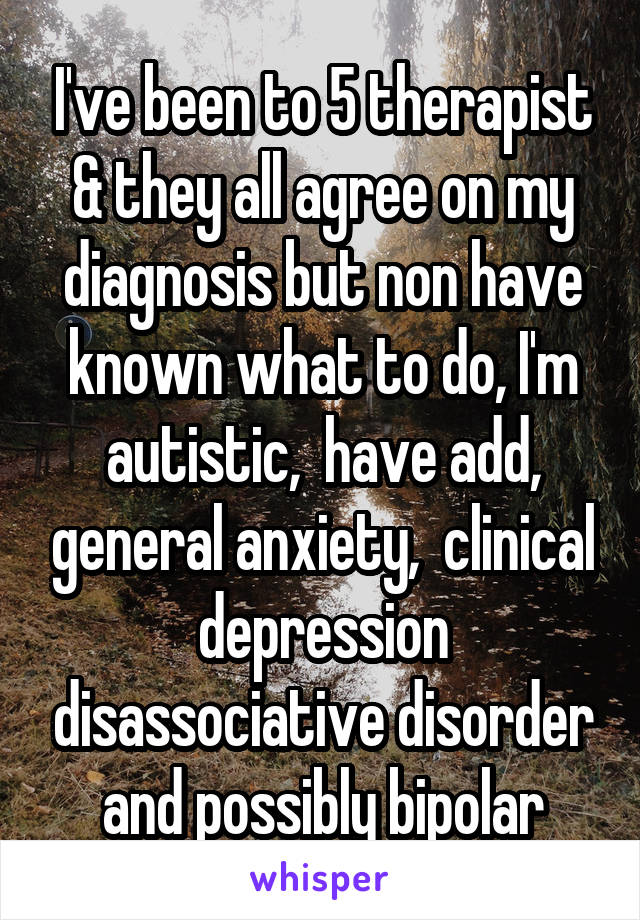 I've been to 5 therapist & they all agree on my diagnosis but non have known what to do, I'm autistic,  have add, general anxiety,  clinical depression disassociative disorder and possibly bipolar