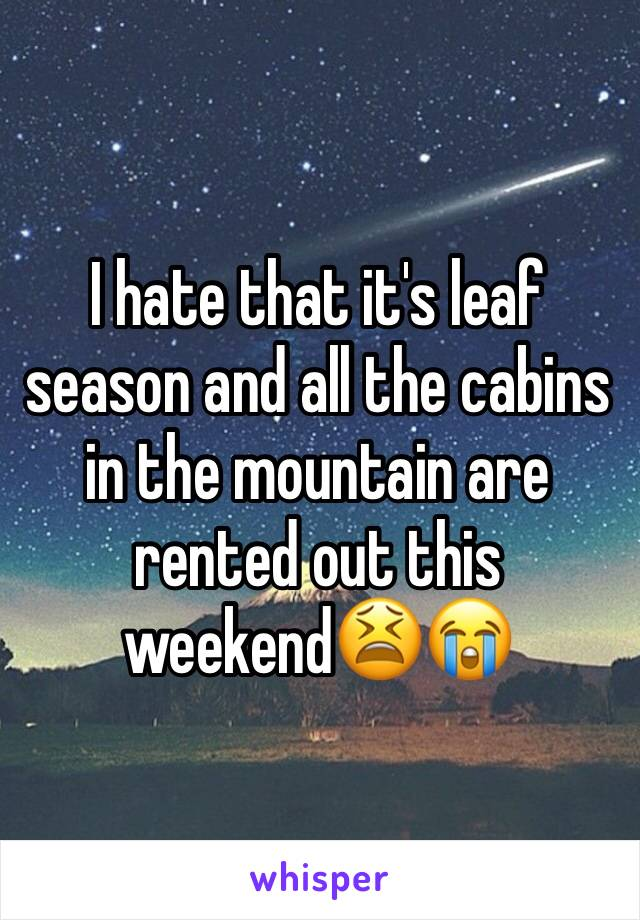 I hate that it's leaf season and all the cabins in the mountain are rented out this weekend😫😭