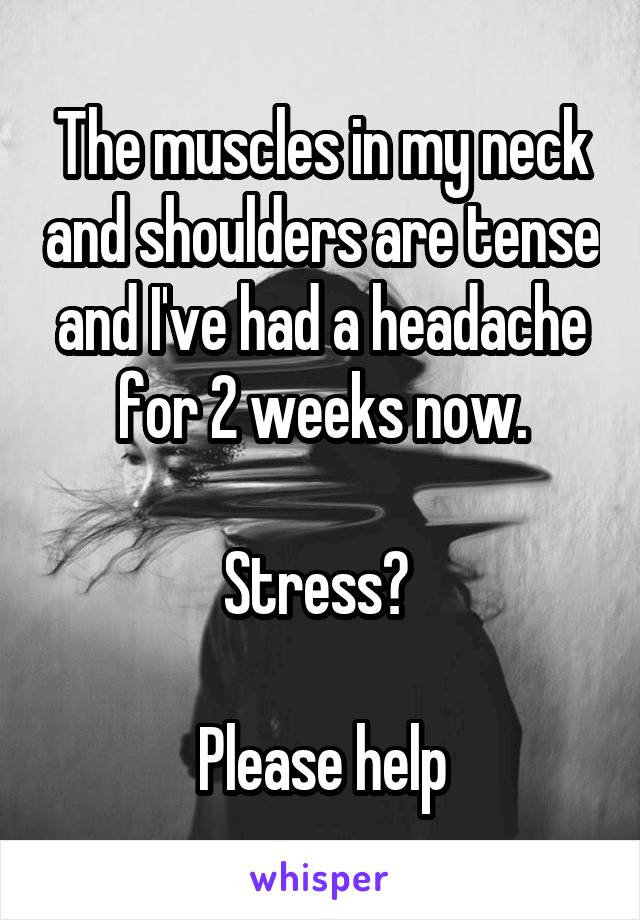 The muscles in my neck and shoulders are tense and I've had a headache for 2 weeks now.  Stress?   Please help