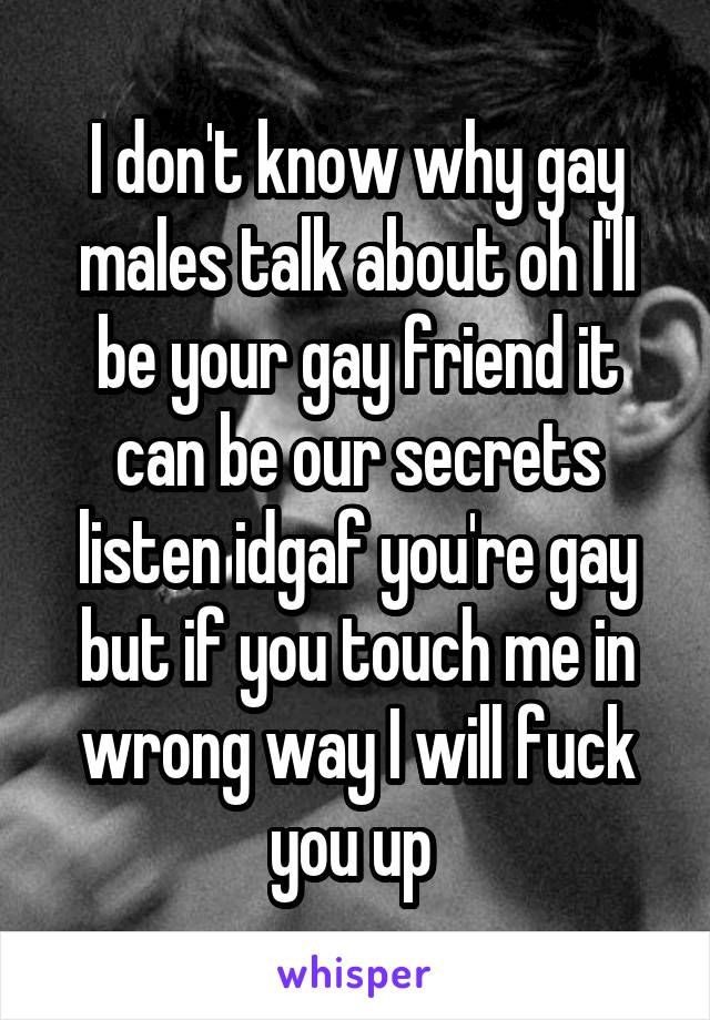 I don't know why gay males talk about oh I'll be your gay friend it can be our secrets listen idgaf you're gay but if you touch me in wrong way I will fuck you up