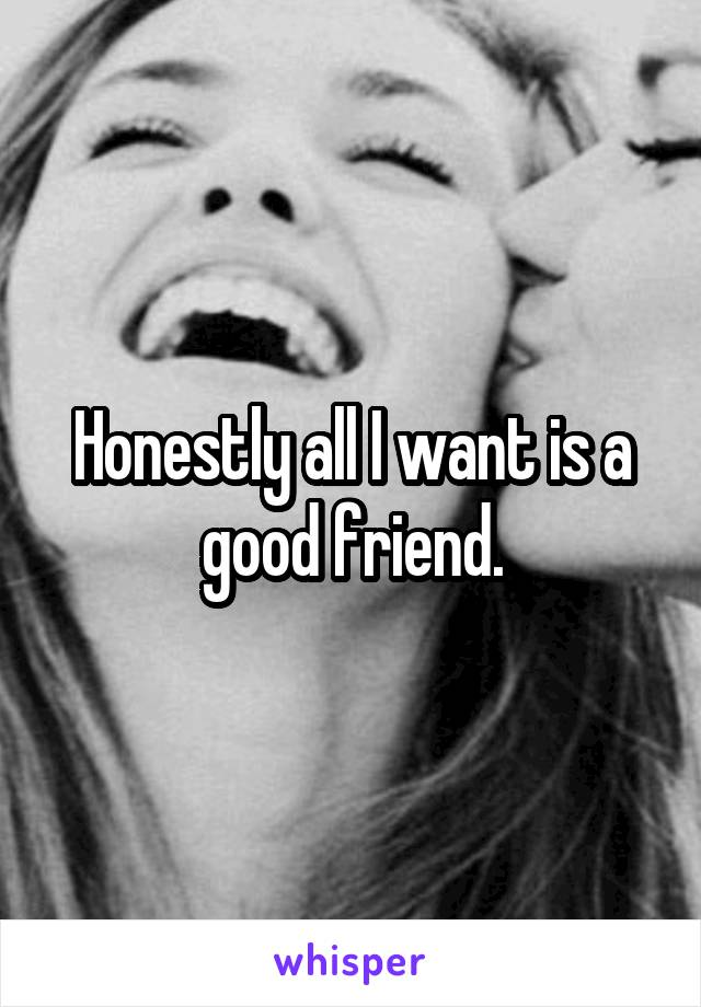 Honestly all I want is a good friend.