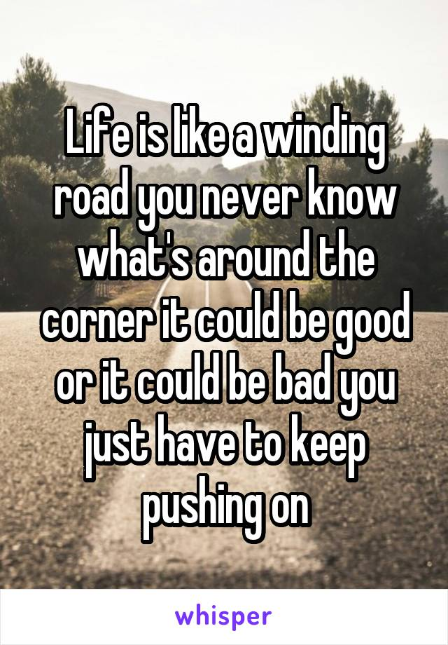 Life is like a winding road you never know what's around the corner it could be good or it could be bad you just have to keep pushing on