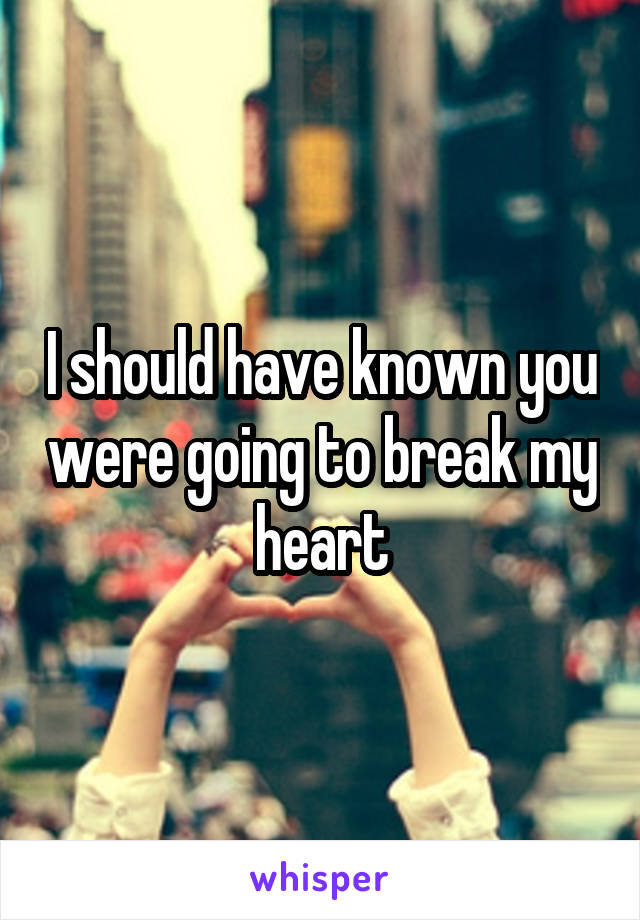I should have known you were going to break my heart