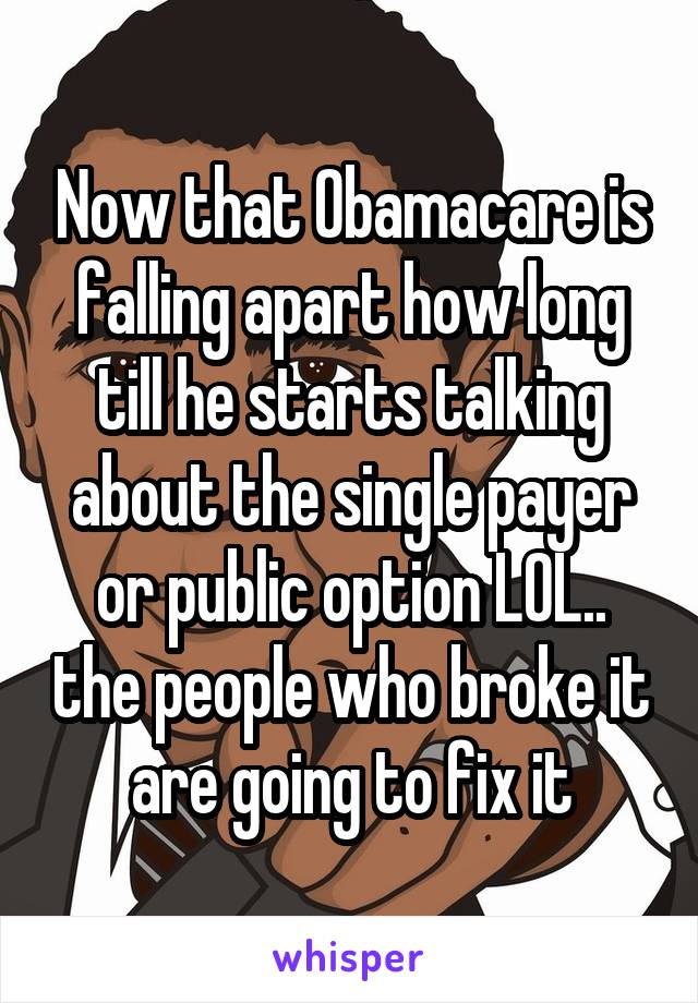 Now that Obamacare is falling apart how long till he starts talking about the single payer or public option LOL.. the people who broke it are going to fix it