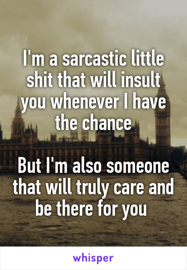 I'm a sarcastic little shit that will insult you whenever I have the chance  But I'm also someone that will truly care and be there for you