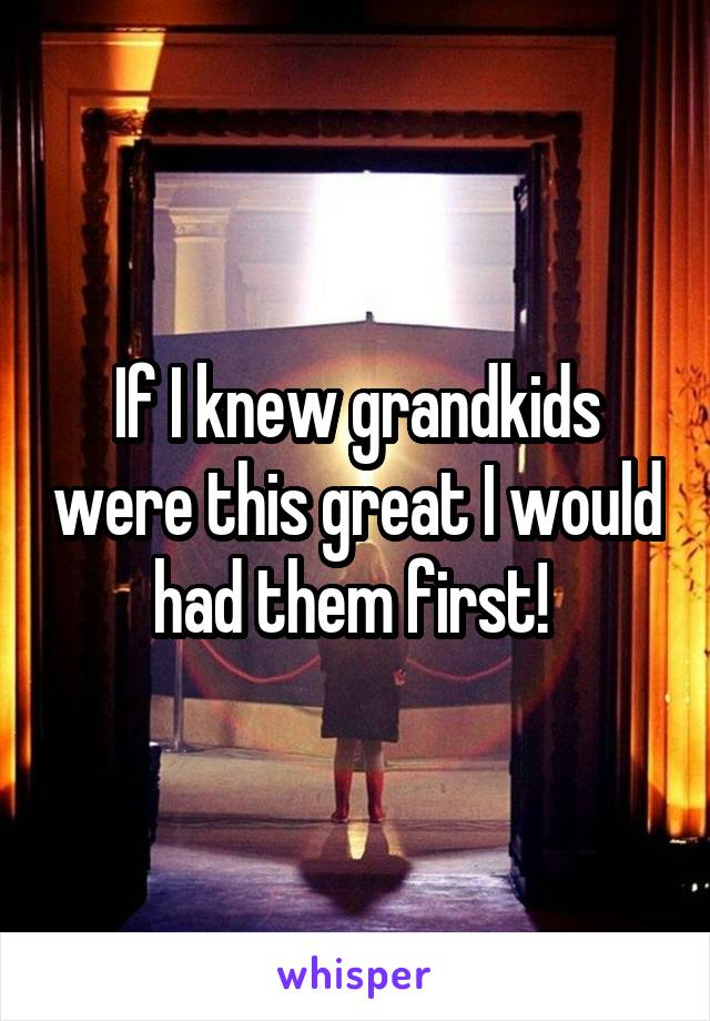 If I knew grandkids were this great I would had them first!