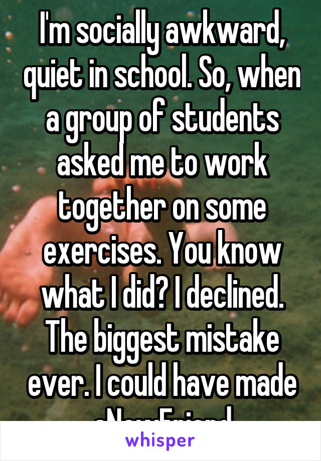 I'm socially awkward, quiet in school. So, when a group of students asked me to work together on some exercises. You know what I did? I declined. The biggest mistake ever. I could have made aNewFriend