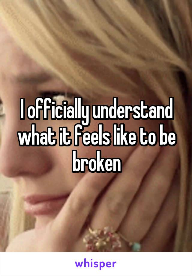 I officially understand what it feels like to be broken