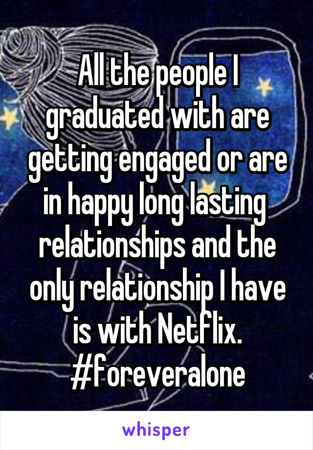 All the people I graduated with are getting engaged or are in happy long lasting  relationships and the only relationship I have is with Netflix. #foreveralone