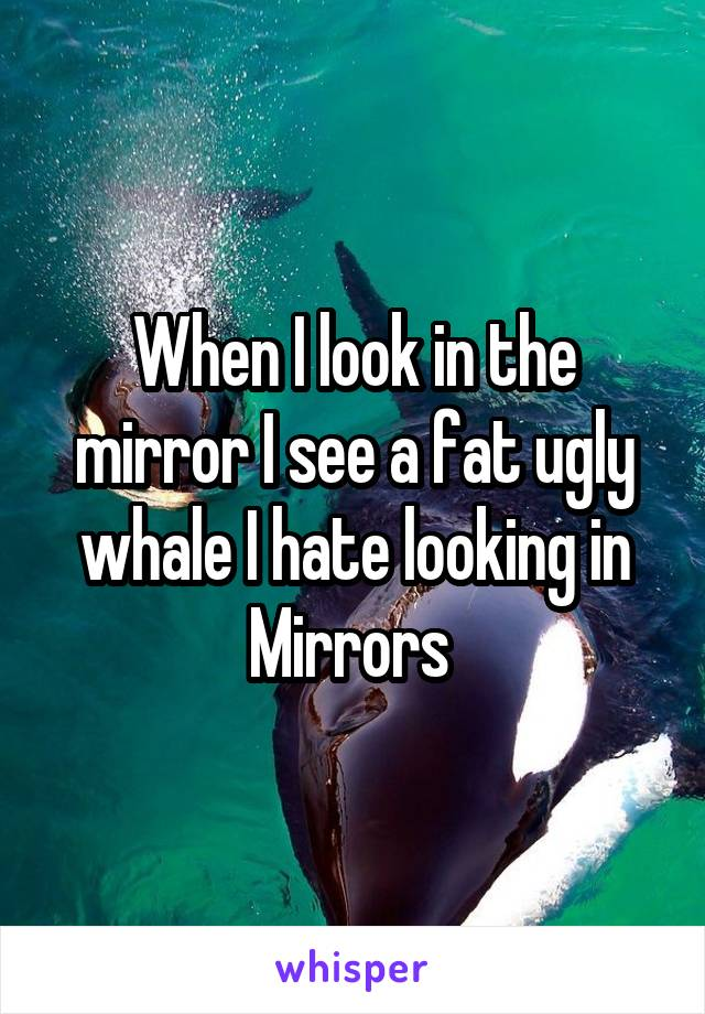 When I look in the mirror I see a fat ugly whale I hate looking in Mirrors