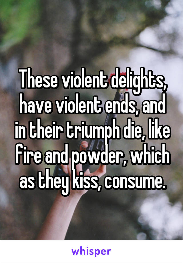 These violent delights, have violent ends, and in their triumph die, like fire and powder, which as they kiss, consume.