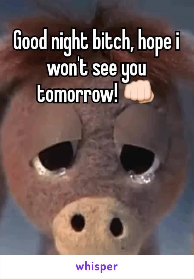 Good night bitch, hope i won't see you tomorrow! 👊