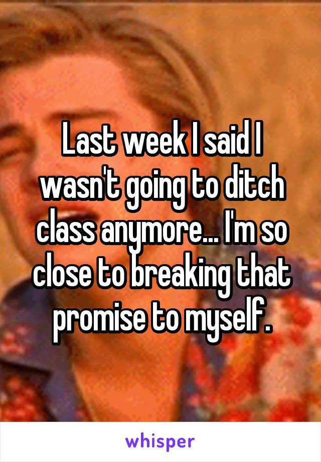 Last week I said I wasn't going to ditch class anymore... I'm so close to breaking that promise to myself.