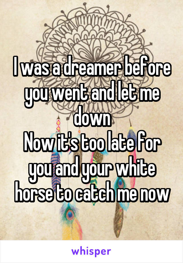 I was a dreamer before you went and let me down Now it's too late for you and your white horse to catch me now