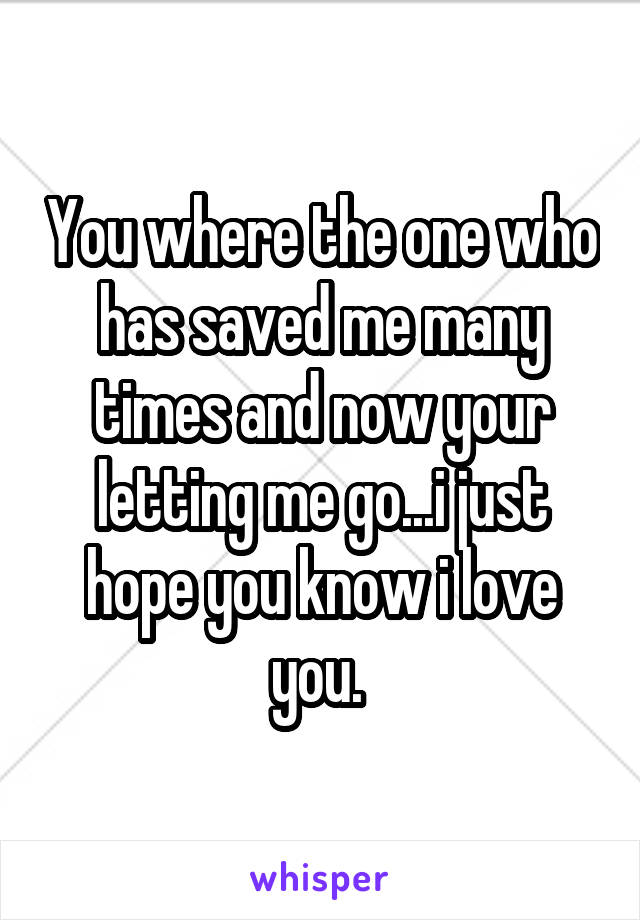 You where the one who has saved me many times and now your letting me go...i just hope you know i love you.