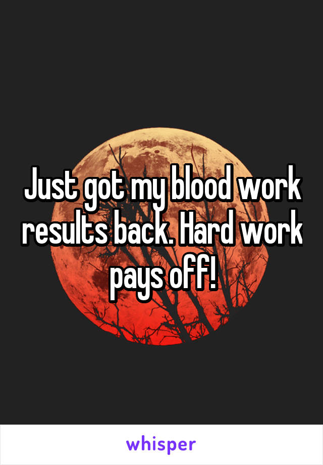 Just got my blood work results back. Hard work pays off!
