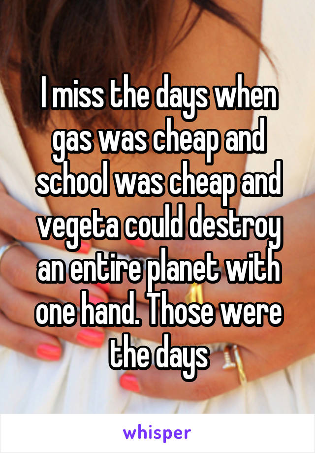 I miss the days when gas was cheap and school was cheap and vegeta could destroy an entire planet with one hand. Those were the days