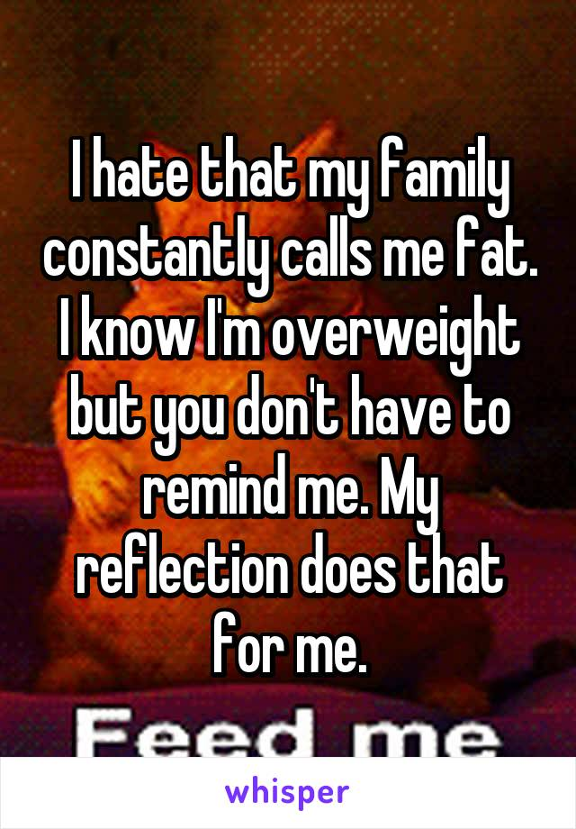 I hate that my family constantly calls me fat. I know I'm overweight but you don't have to remind me. My reflection does that for me.