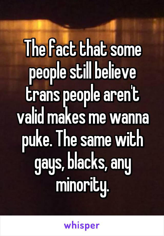The fact that some people still believe trans people aren't valid makes me wanna puke. The same with gays, blacks, any minority.