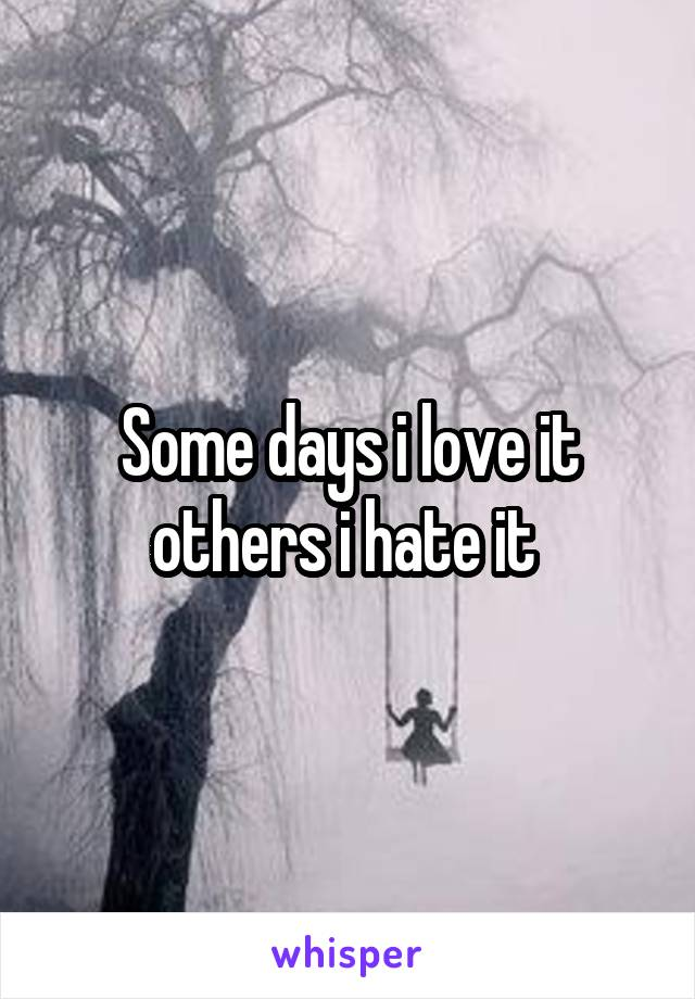 Some days i love it others i hate it