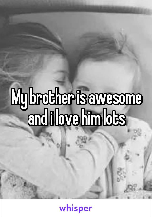 My brother is awesome and i love him lots