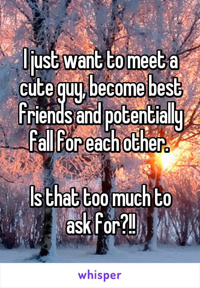I just want to meet a cute guy, become best friends and potentially fall for each other.   Is that too much to ask for?!!