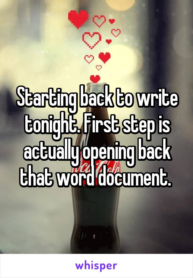 Starting back to write tonight. First step is actually opening back that word document.