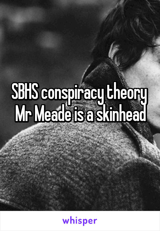 SBHS conspiracy theory  Mr Meade is a skinhead