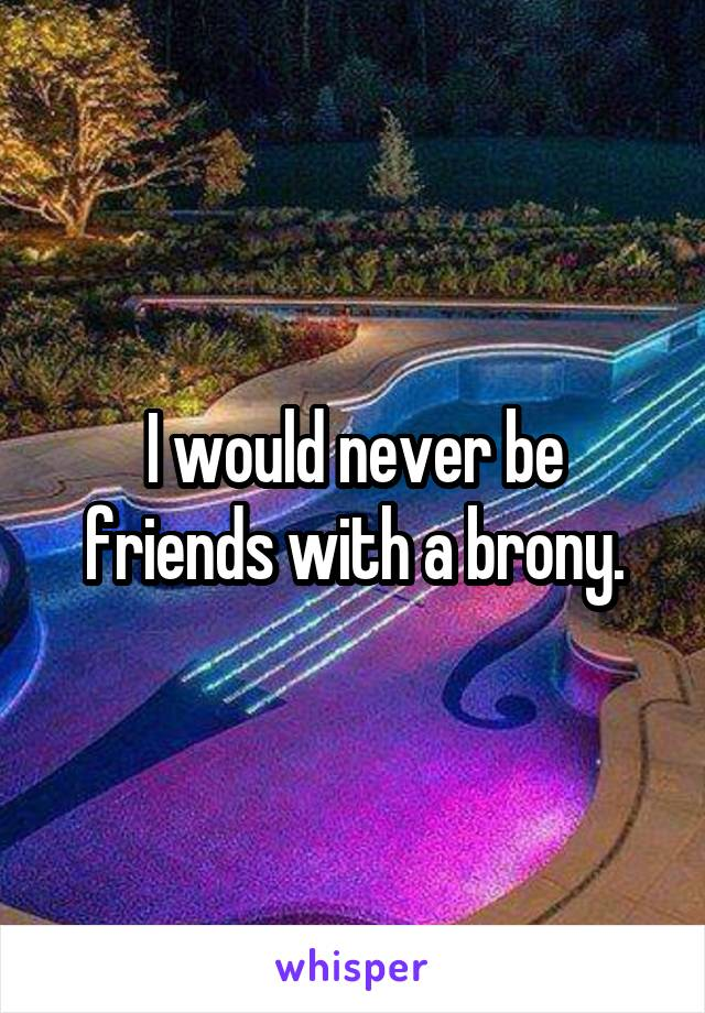 I would never be friends with a brony.
